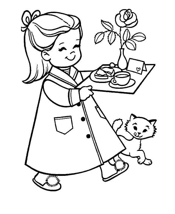 Раскраска Завтрак маме Скачать ,Поздравление, 8 марта, праздник, Женский день,.  Распечатать