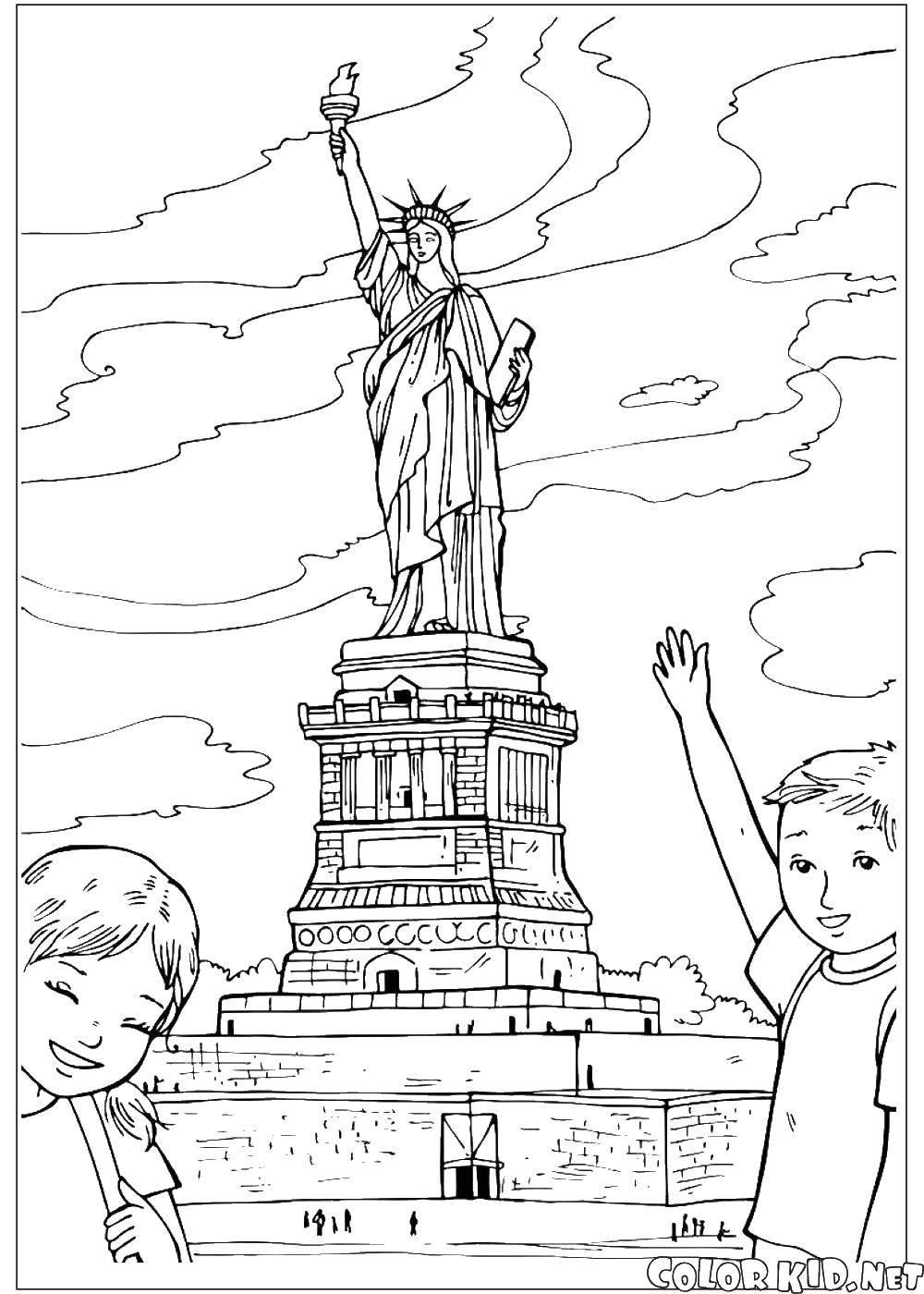 Раскраска статуя свободы Скачать ,Америка, США, флаг,.  Распечатать
