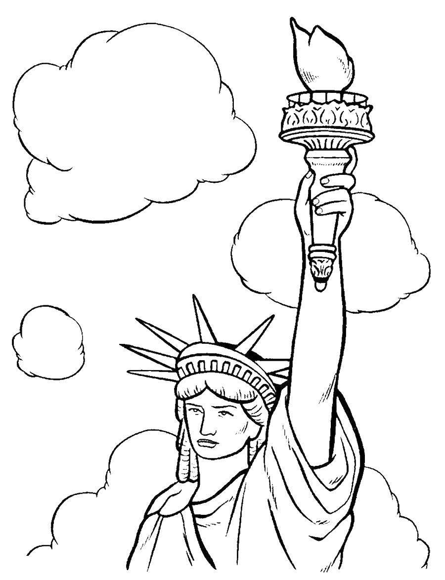 Раскраска статуя свободы Скачать ,звезда,.  Распечатать