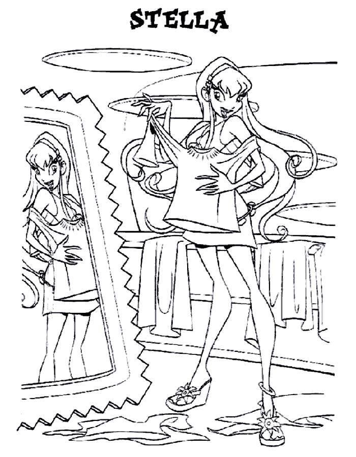 Раскраска Девушка примеряет одежду Скачать девочка, кукла, барби.  Распечатать ,раскраски для девочек,