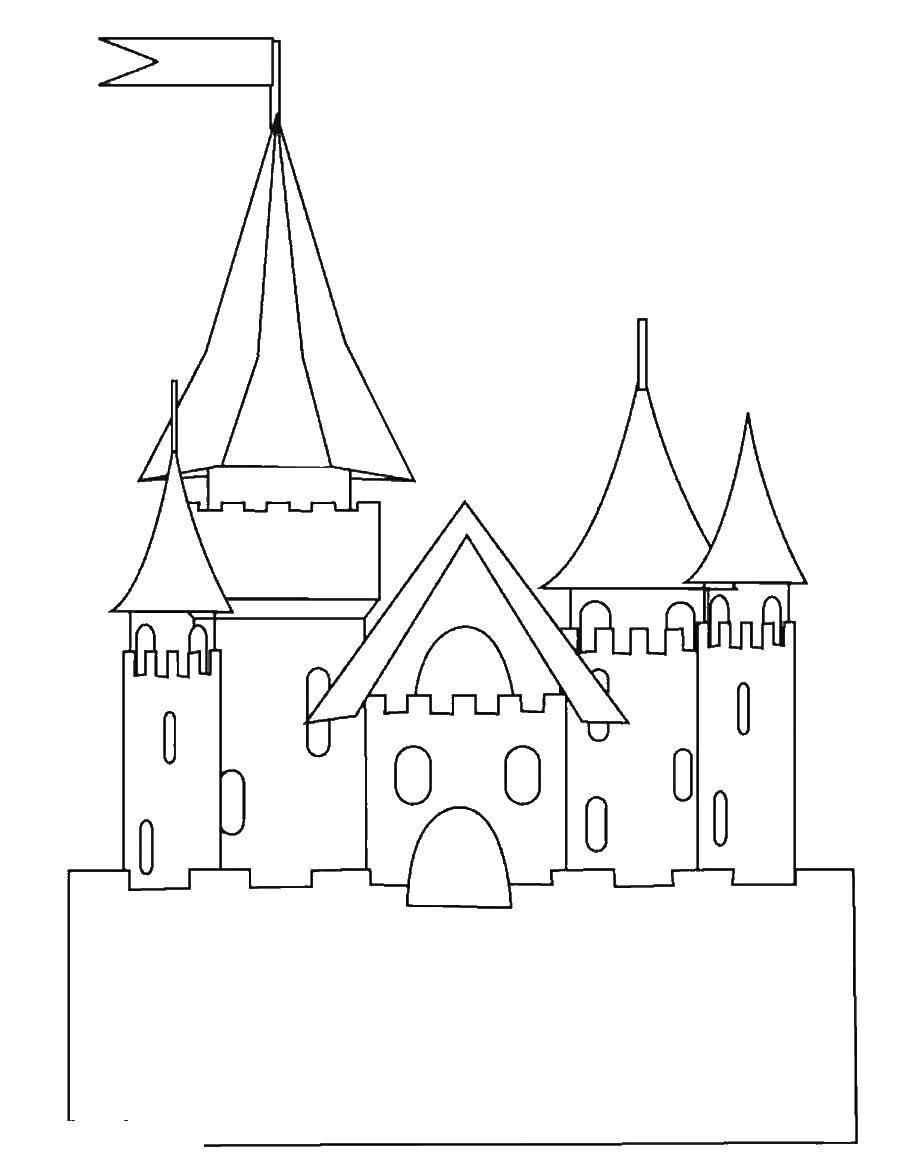 Раскраска замки Скачать драконы, огнедышащие.  Распечатать ,Драконы,