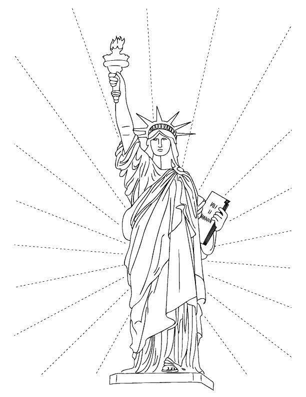 Название: Раскраска Статуя свободы.. Категория: статуя свободы. Теги: Америка, США, флаг.