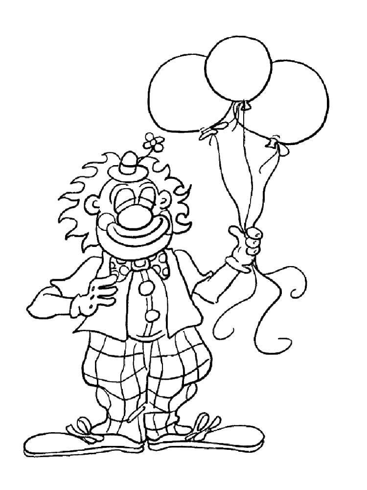 Раскраска Клоун с тремя шарами Скачать клоун с тремя шарами.  Распечатать ,клоун,