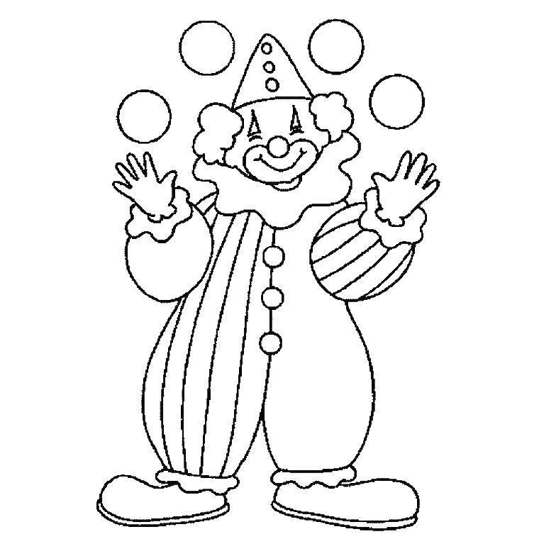Раскраска клоун Скачать ,цирк,.  Распечатать