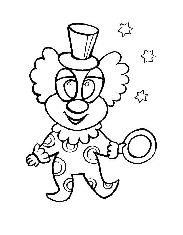 Раскраска Клоун с колечком. Скачать Клоун, цирк, радость, веселье.  Распечатать ,клоун,