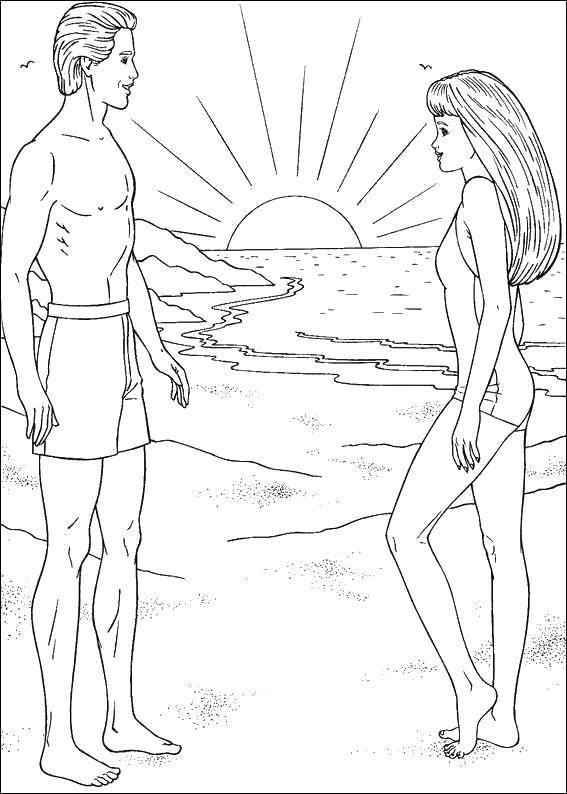 Раскраска закат солнца Скачать ,Барби, кен,.  Распечатать