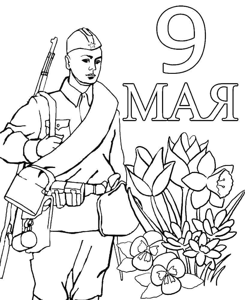Раскраска раскраски ко дню победы Скачать ,ко дню победы, 9 мая, праздник, солдат,.  Распечатать