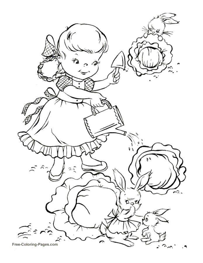 Раскраска Поливаем капустку Скачать Лейка, сад.  Распечатать ,лейка,