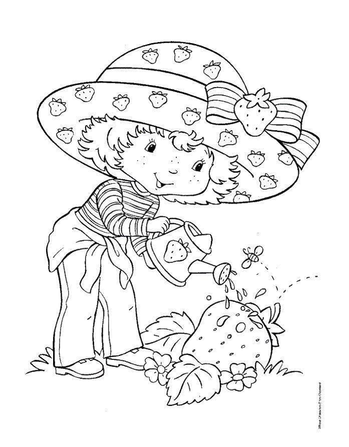 Раскраска Поливаем клубнику Скачать Огород.  Распечатать ,лейка,