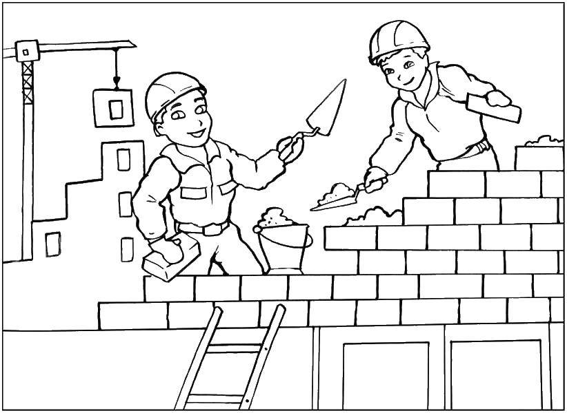 Раскраска стройка Скачать ,Строитель, инструменты, стройка,.  Распечатать