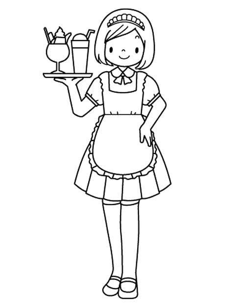 Раскраска Официантка Скачать Кафе, официант.  Распечатать ,Кафе,