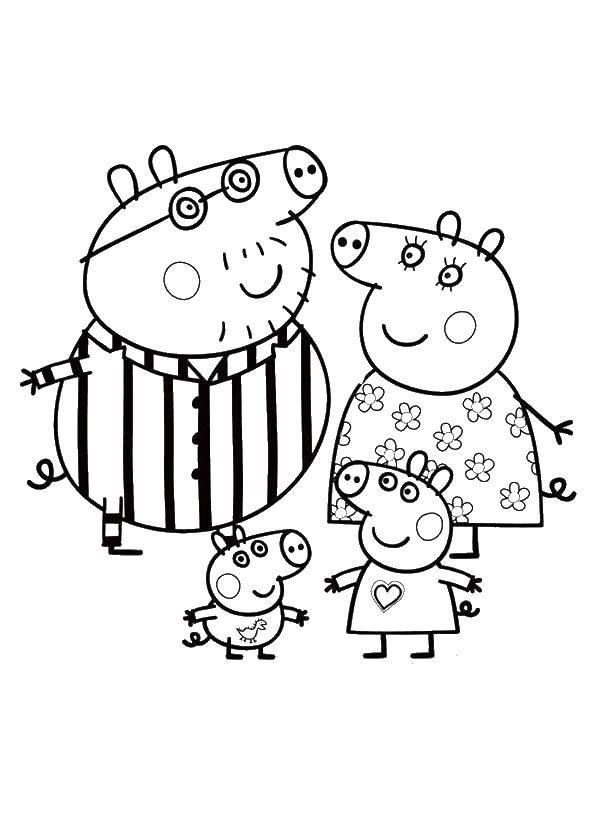 Раскраска Семья свинки пеппы готовится ко сну Скачать ,Свинка Пеппа,.  Распечатать