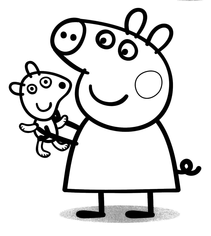 Раскраска Свинка пеппа с игрушкой Скачать ,Свинка Пеппа,.  Распечатать