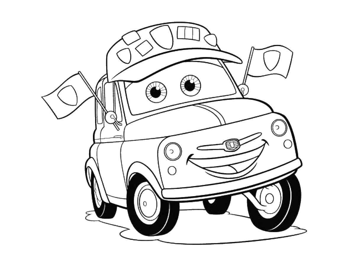 Раскраска Герой из мультфильма тачки Скачать тачки, автомобиль, машина.  Распечатать ,Тачки,