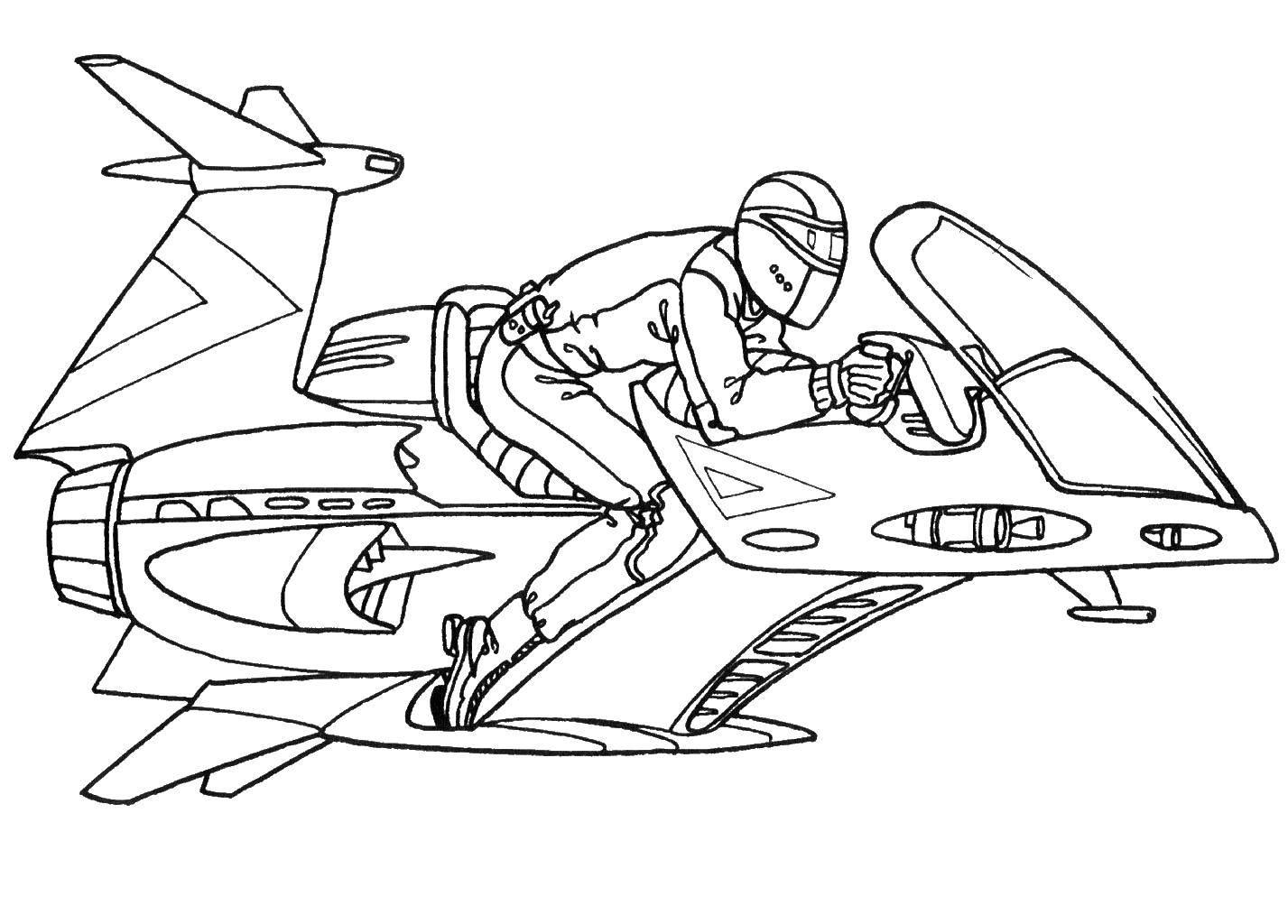 Раскраска Летающий транспорт Скачать транспорт, ракета, человек.  Распечатать ,Спецтехника,