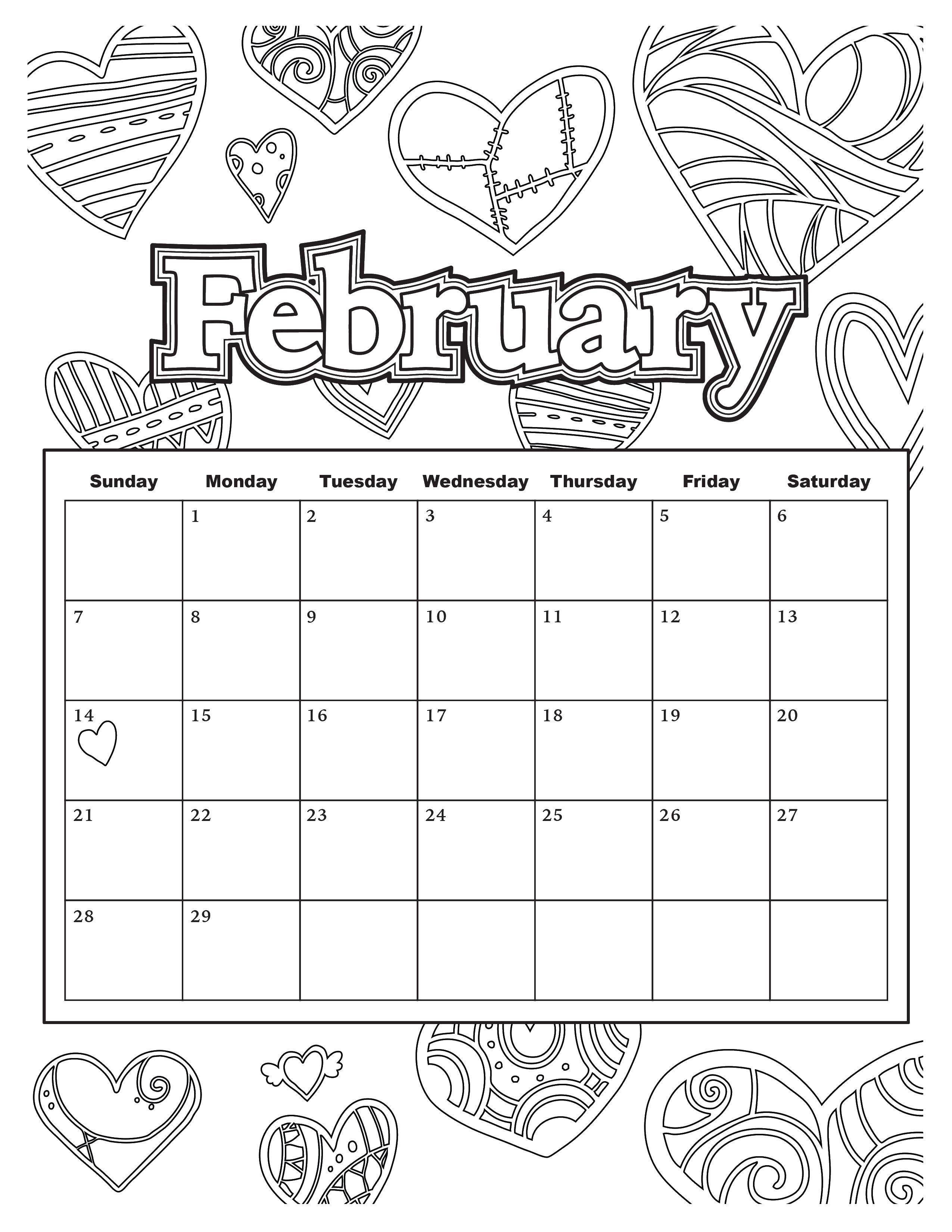 Coloring february category calendar tags calendar