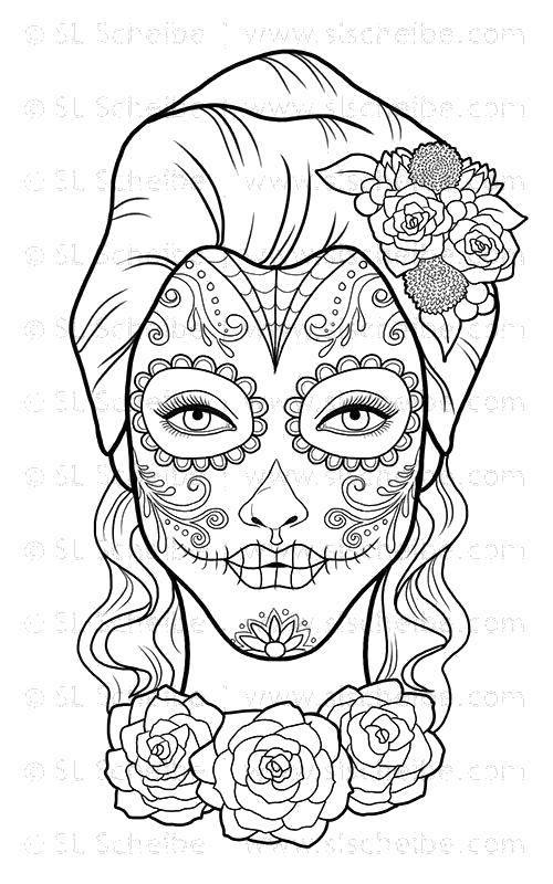 Раскраска Рисунок на лице девушки Скачать Череп, узоры.  Распечатать ,Череп,