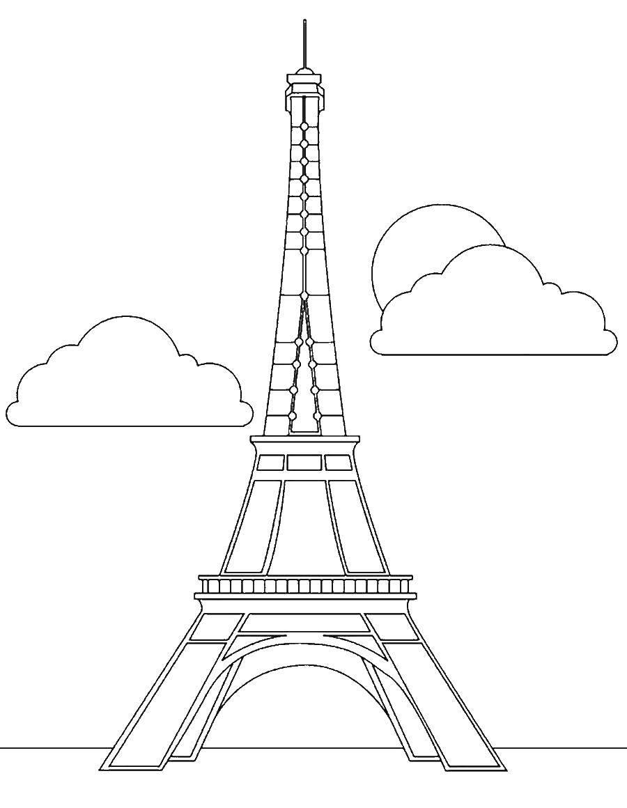Раскраска Эйфелева башня Скачать Париж.  Распечатать ,Чудеса Света,