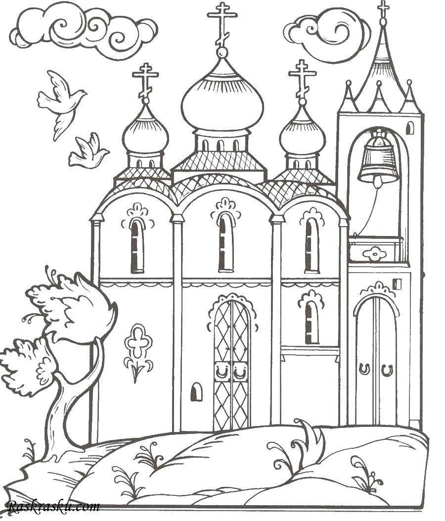 Раскраска церковь Скачать Игры, Angry Birds .  Распечатать ,Персонаж из игры,