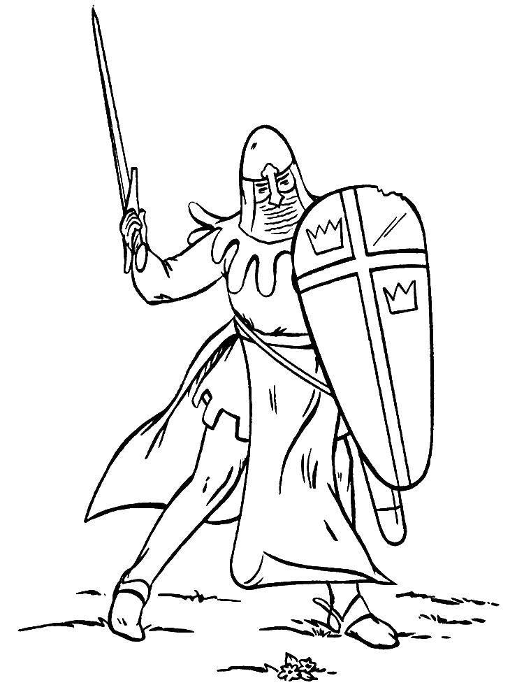 Раскраска Рыцарь в доспехах Скачать рыцарь, доспехи.  Распечатать ,для мальчиков,