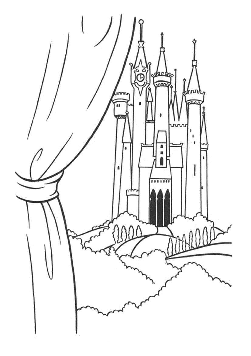 Раскраска замки Скачать мини, принцессы, дисней.  Распечатать ,Диснеевские раскраски,