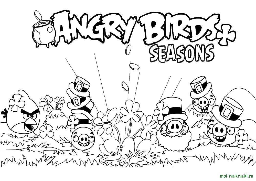 Раскраска Andry birds, игра, сезоны Скачать Angry Birds, персонаж из игры.  Распечатать ,Персонаж из игры,