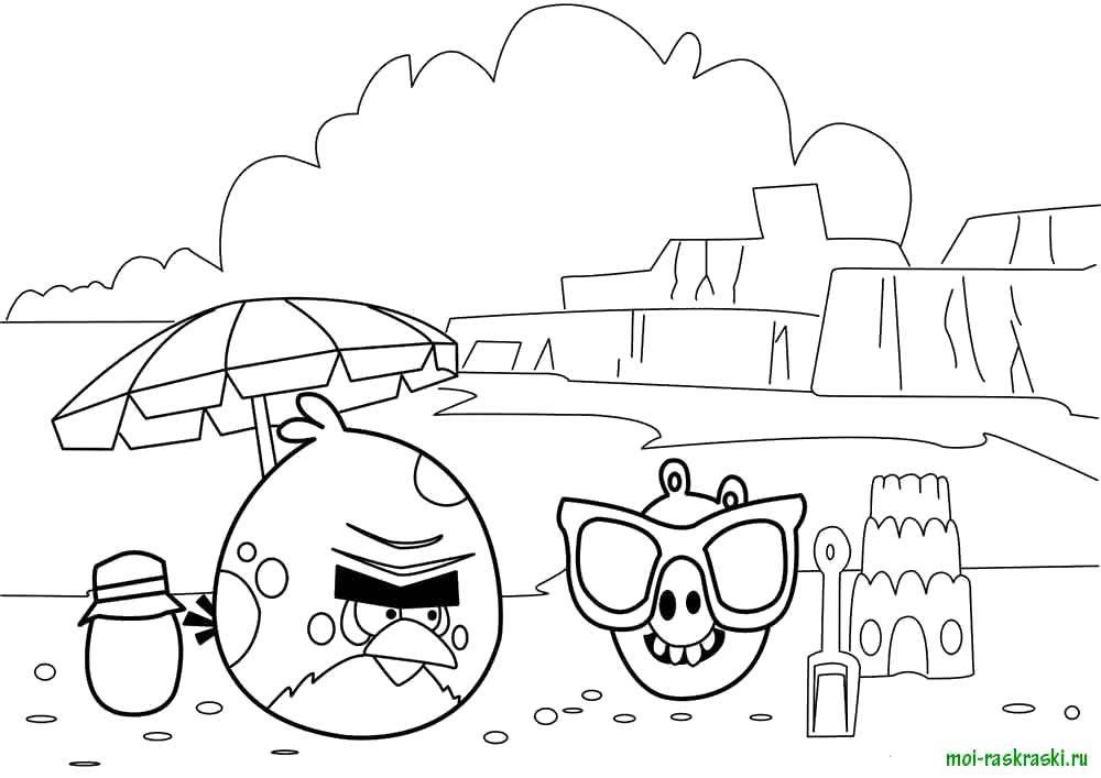 Раскраска Angry birds, игра, пляж Скачать Персонаж из игры, пляж, Angry Birds.  Распечатать ,Персонаж из игры,