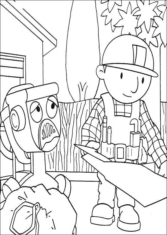 Раскраска Боб строит Скачать ,Строитель, инструменты, стройка,.  Распечатать