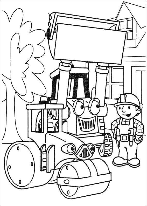 Раскраска Бульдозер и боб Скачать ,Строитель, инструменты, стройка,.  Распечатать