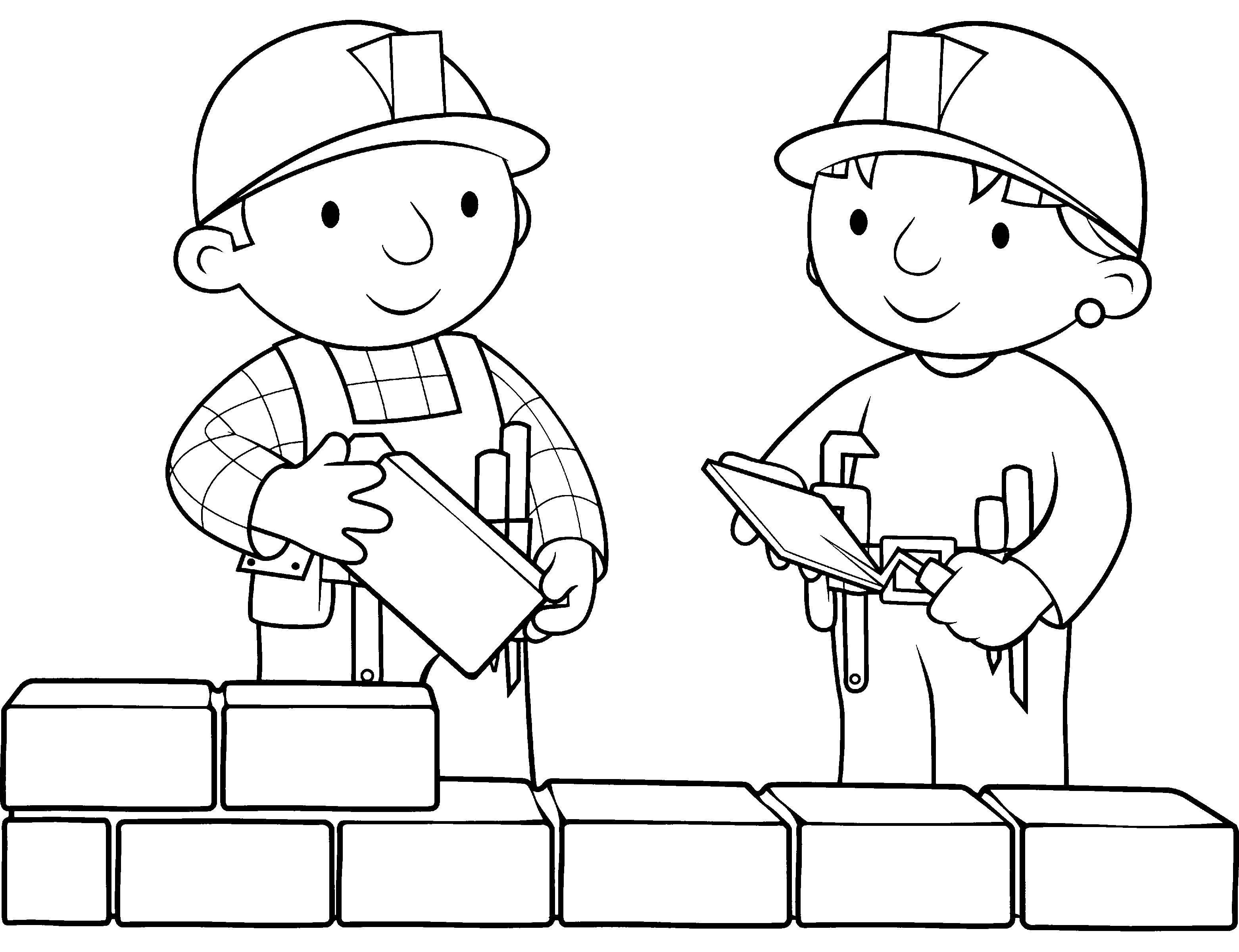 Раскраска боб строитель Скачать ,Строитель, инструменты, стройка,.  Распечатать