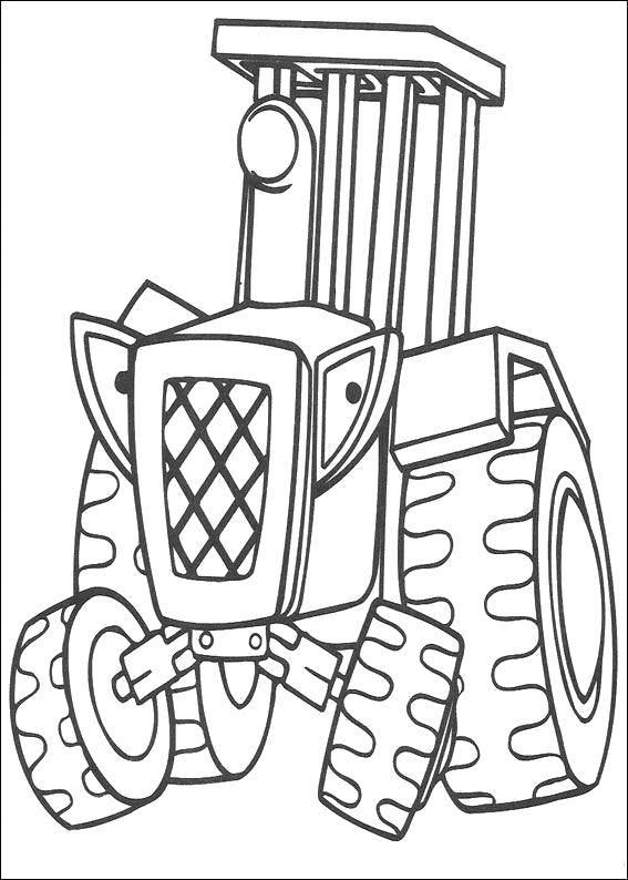 Раскраска Грозный трактор Скачать Строитель, инструменты, стройка.  Распечатать ,боб строитель,