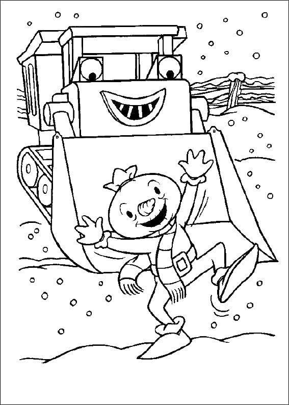 Раскраска Игры зимой на стройке Скачать Строитель, инструменты, стройка.  Распечатать ,боб строитель,