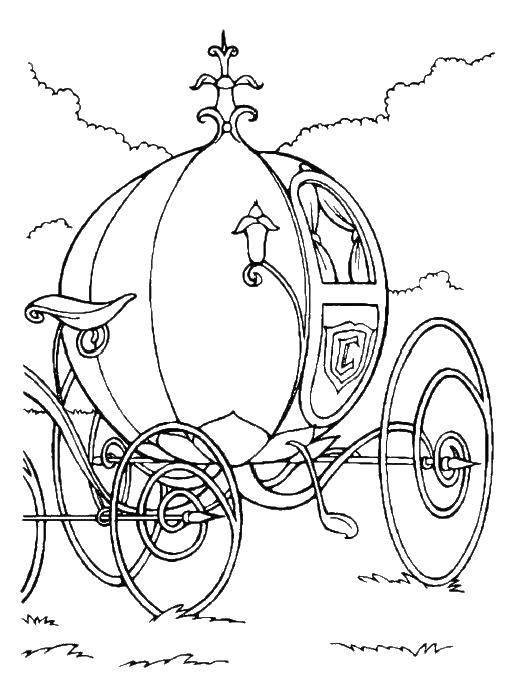 Раскраска Круглая карета. Скачать карета.  Распечатать ,карета,