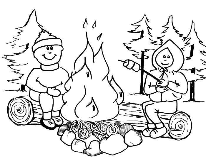 Раскраска Костёр в походе Скачать Пожар, огонь.  Распечатать ,Огонь,