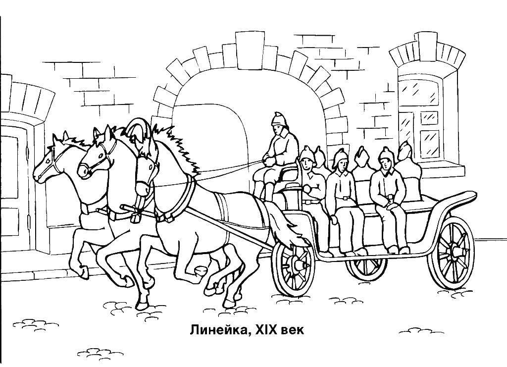 Раскраска Линейка 19 века Скачать Транспорт, машина.  Распечатать ,пожарная машина,