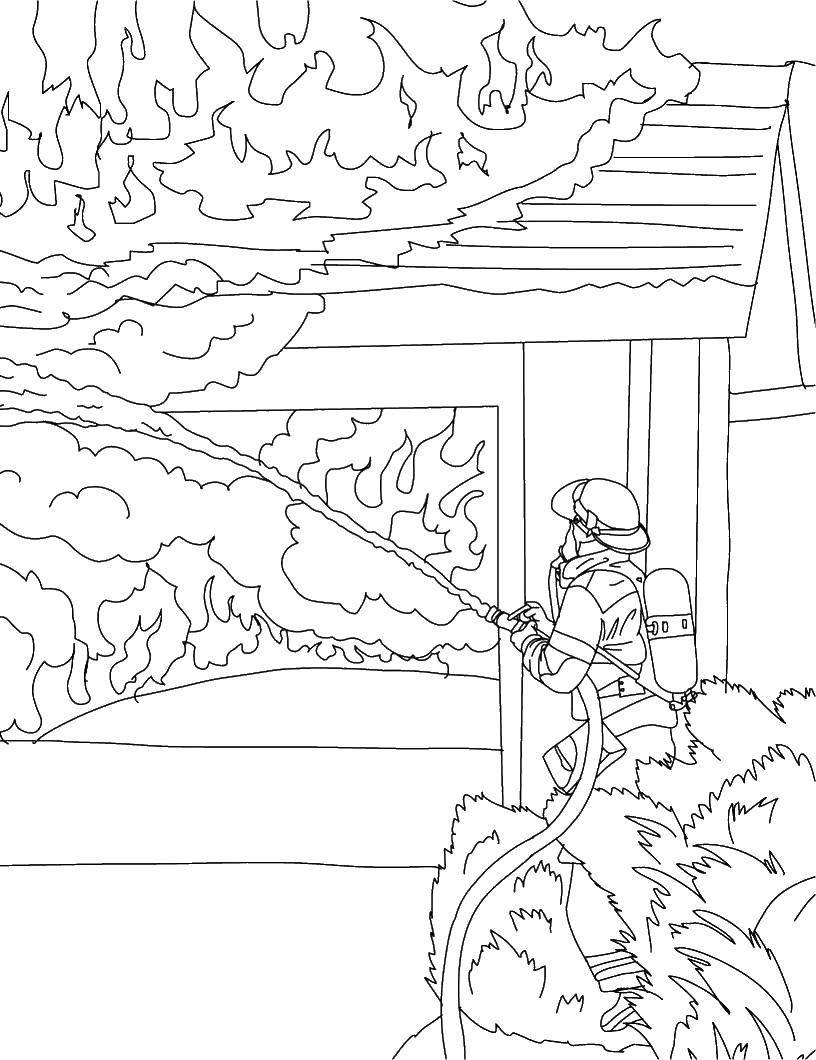 Раскраска пожар дома Скачать ,Пожар, огонь,.  Распечатать