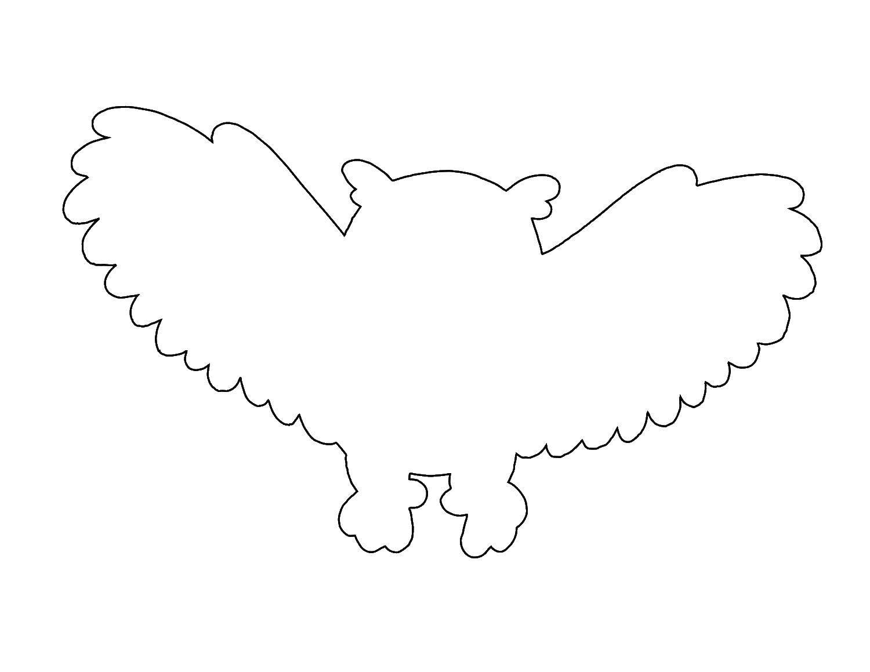 Раскраска Контур летящей совы Скачать контур, птица, сова.  Распечатать ,Контуры птиц,