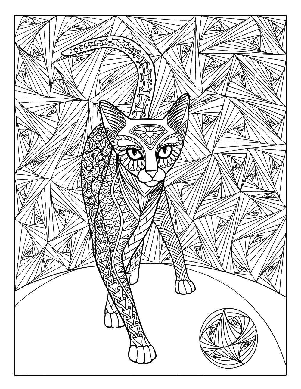 раскраски нарисованная раскраска кошка нарисованная узором