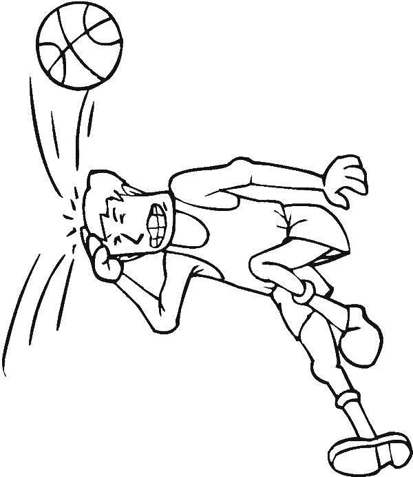 Раскраска Удар по голове Скачать Спорт, баскетбол, мяч, игра.  Распечатать ,баскетбол,