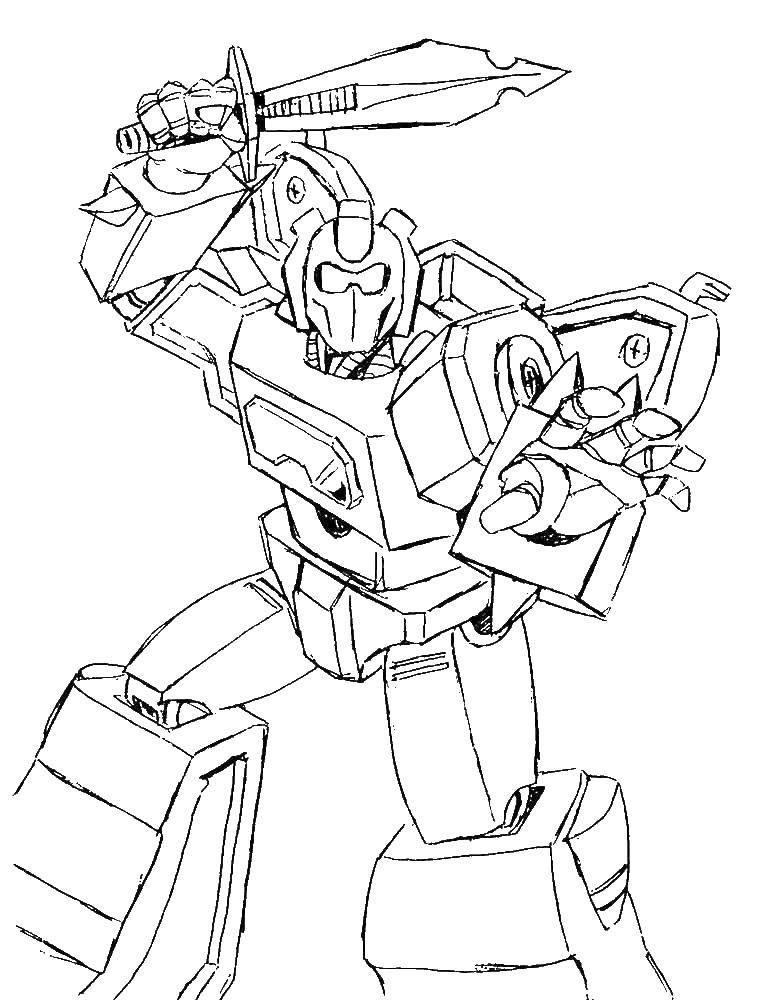 Раскраска Трансформер с мечом. Скачать трансформер, робот.  Распечатать ,трансформеры,