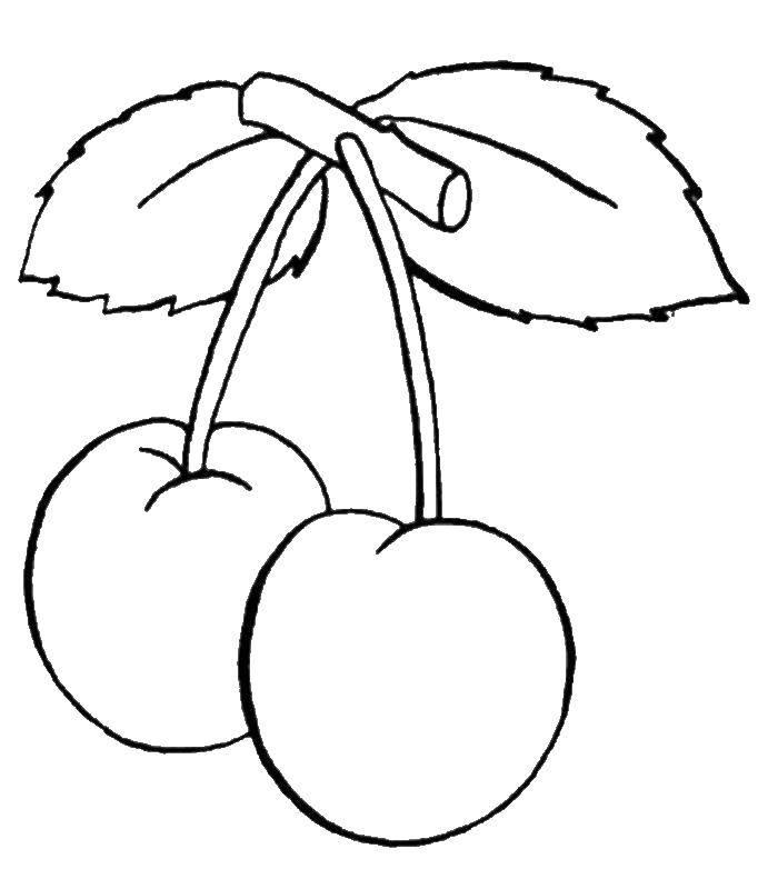 Название: Раскраска Ягоды вишни. Категория: ягоды. Теги: Ягоды, вишня.