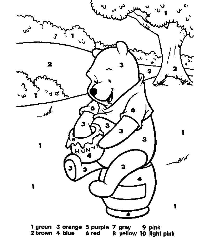 Раскраска Винни пух с медом Скачать мишка, животные, Винни Пух.  Распечатать ,раскраски по номерам,