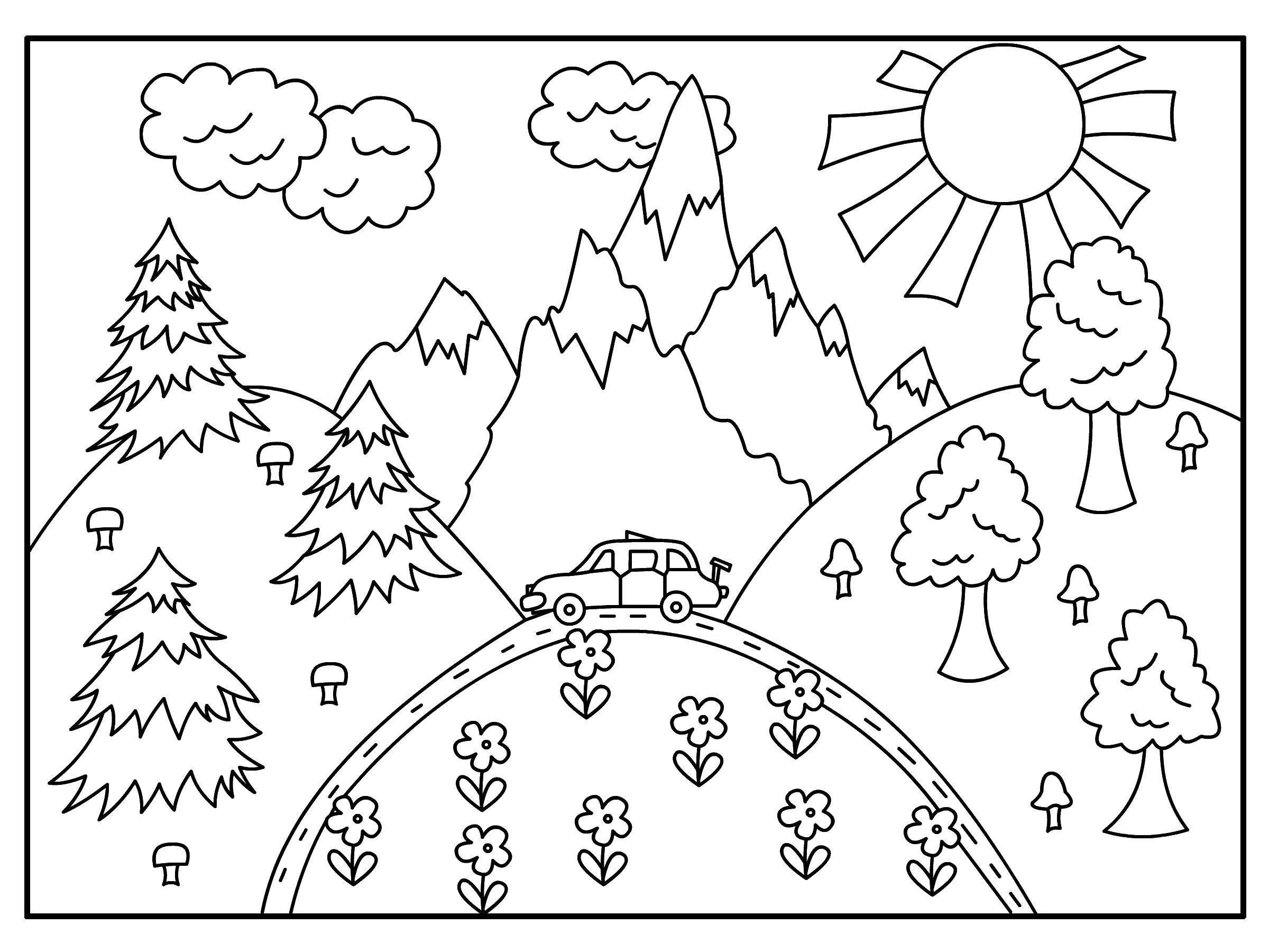 Раскраска Природа Скачать ,природа, машина, лес, горки,.  Распечатать