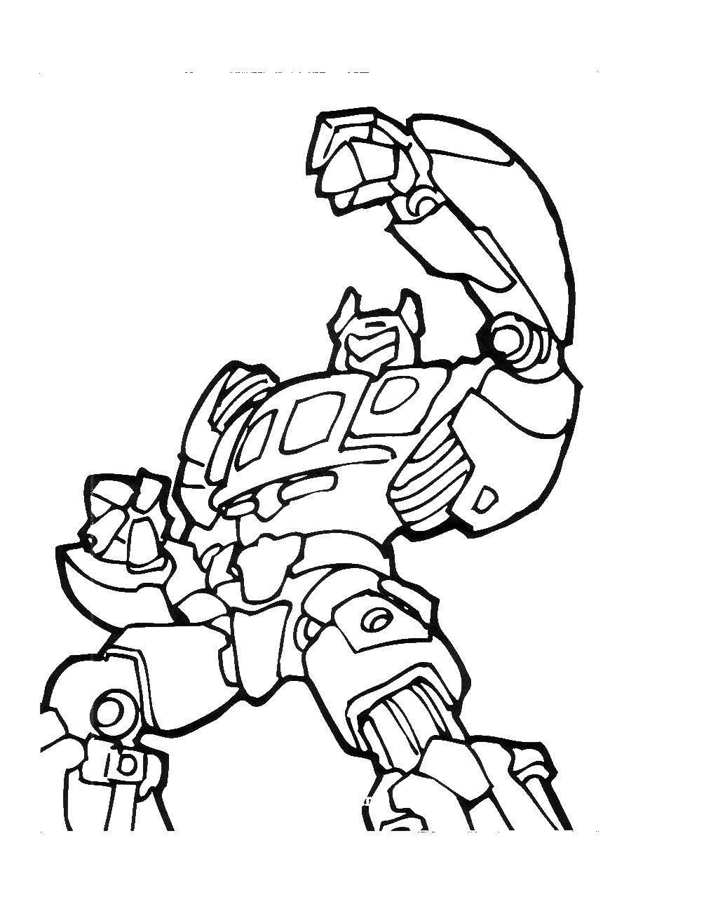 Раскраска Большой робот Скачать ,роботы, трасформеры,.  Распечатать