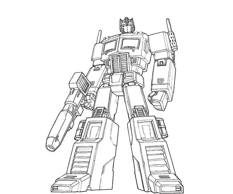 Раскраска Трансформер с бластером Скачать ,роботы, трансформеры,.  Распечатать