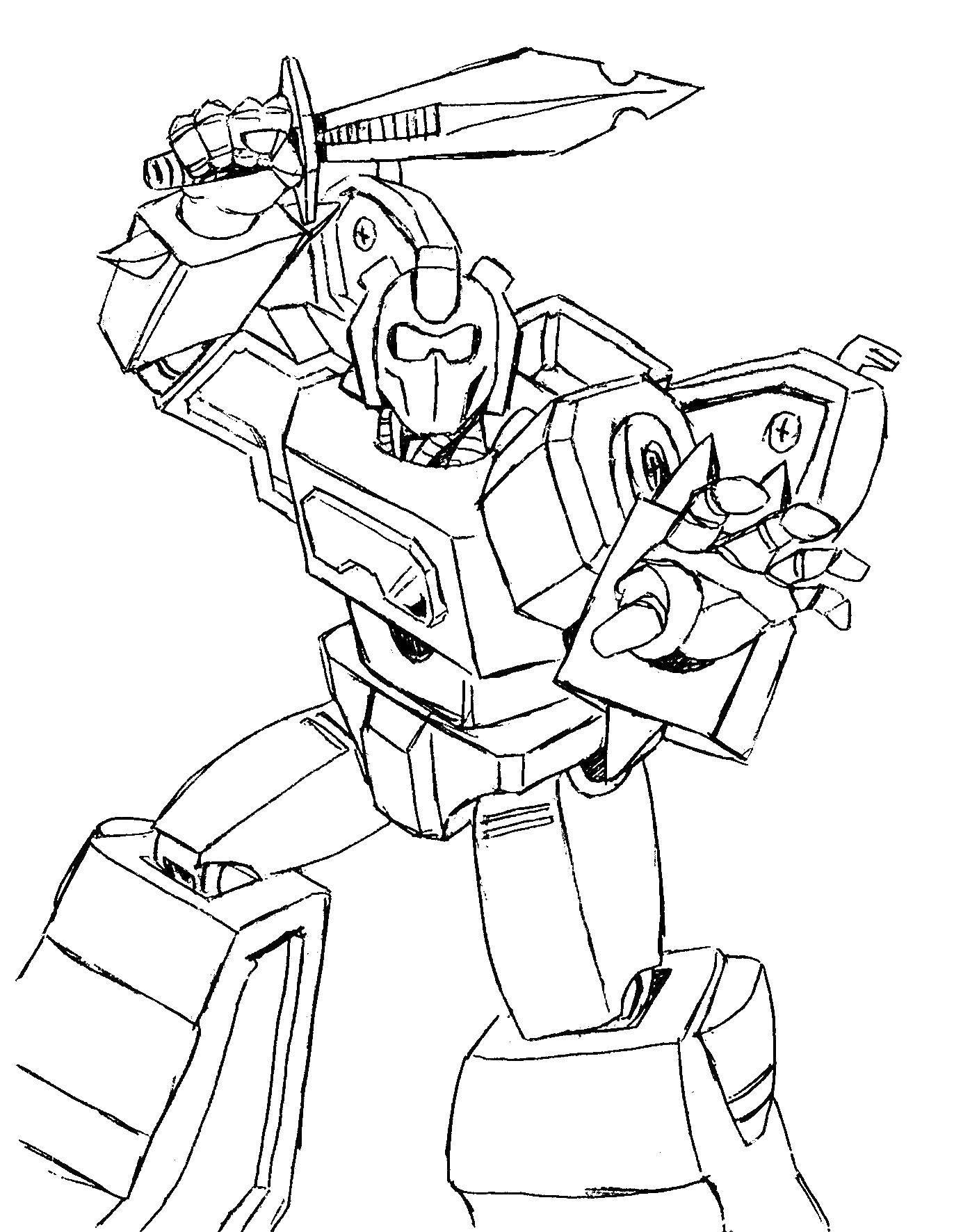 Раскраска Трансформер с мечом Скачать ,роботы, трасформеры,.  Распечатать