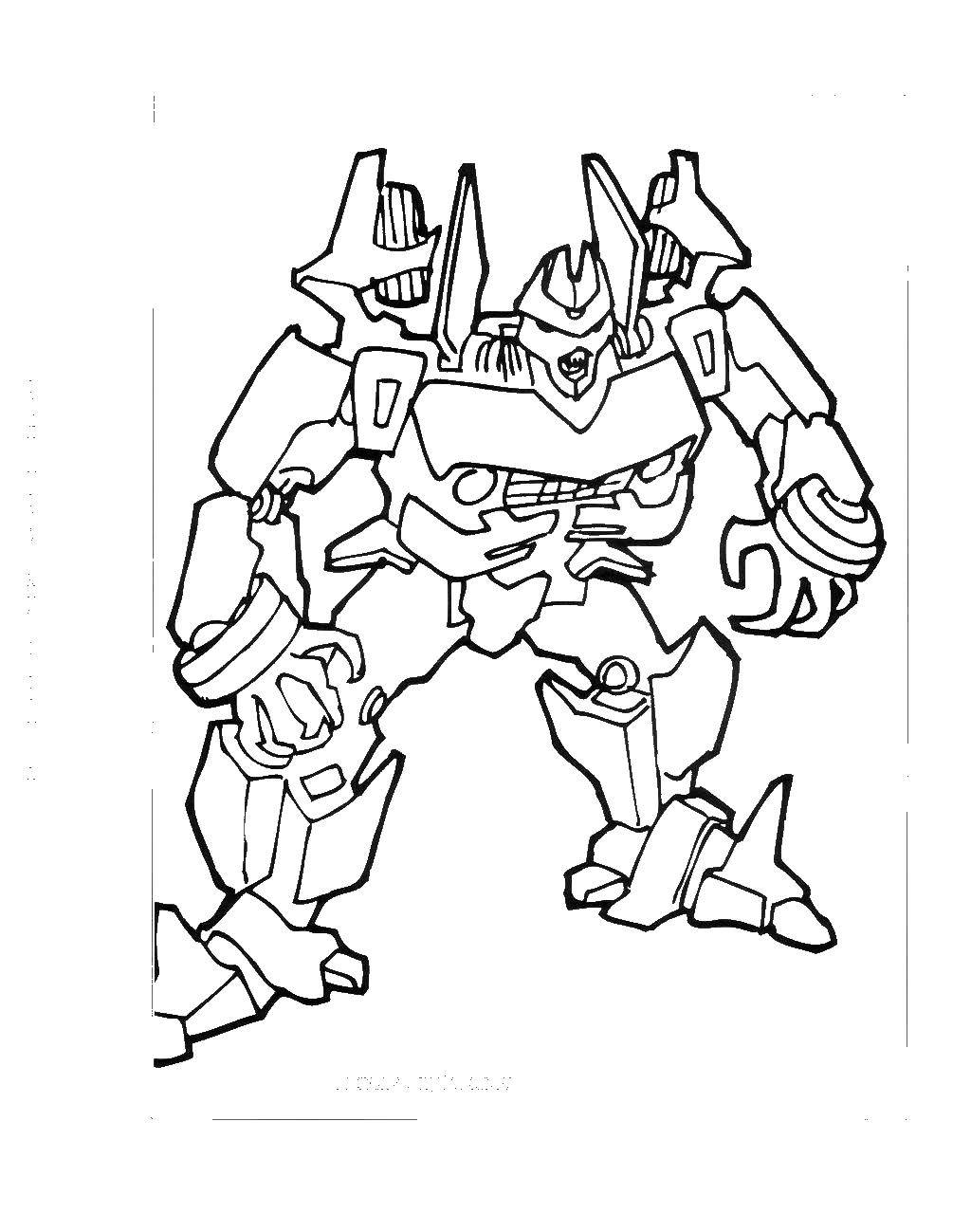 Раскраска Злой трансформер Скачать ,роботы, трансфореры,.  Распечатать