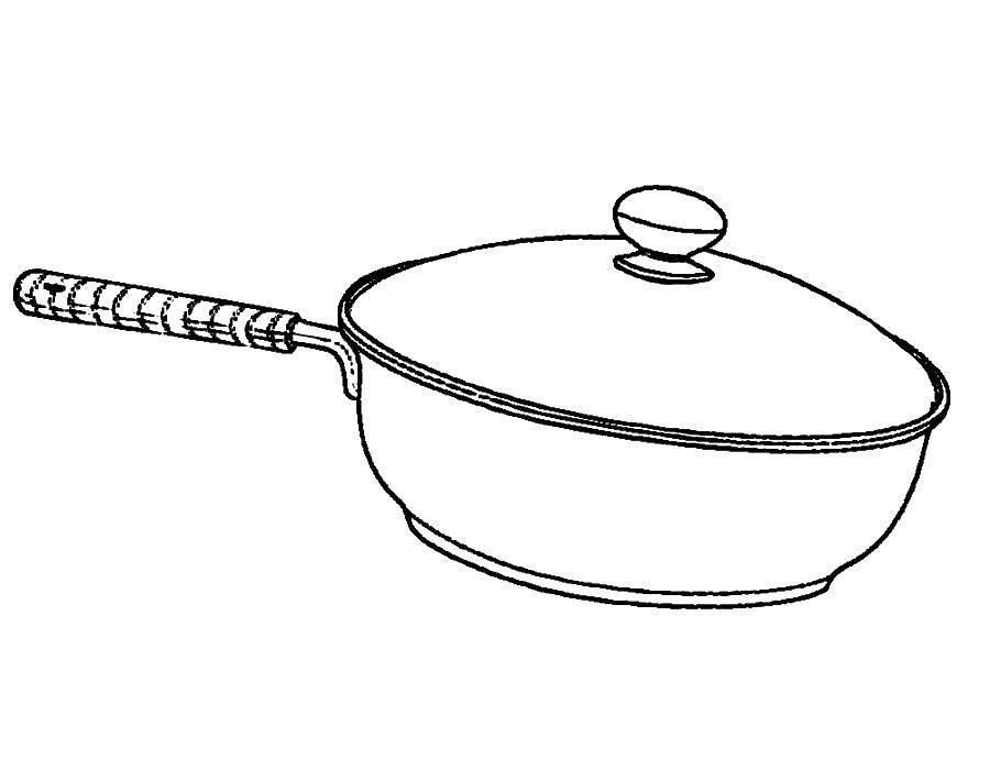 Раскраска Ковш Скачать Посуда, миска.  Распечатать ,посуда,