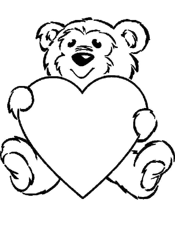 Раскраска Медведь с сердечком Скачать Животные, медведь, сердце.  Распечатать ,Животные,