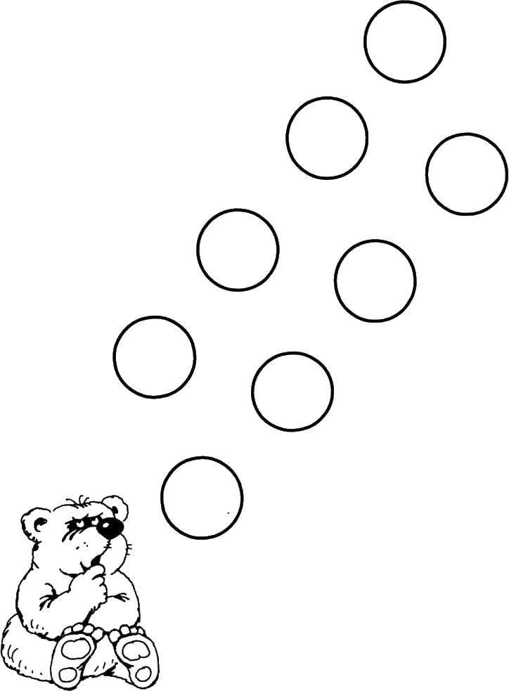 Раскраска Мишка и кружочки Скачать животные, мишки, кружочки.  Распечатать ,Животные,